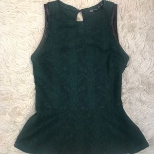 Olive green Zara peplum top